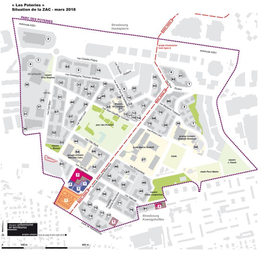 Plan des Poteries à Strasbourg
